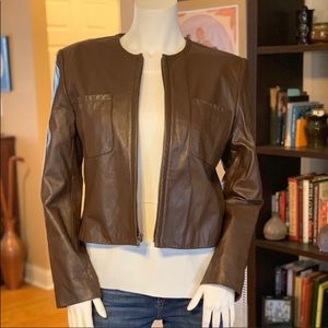 Jones New York Brown 100% Leather Jacket Size 10